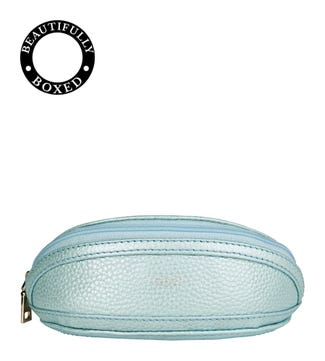 The Holly Leather Glasses Case in topaz blue | OSPREY LONDON