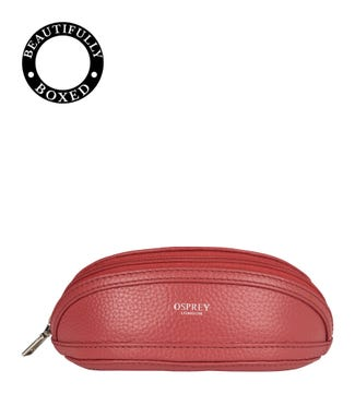 The Holly Leather Glasses Case in tulip pink | OSPREY LONDON