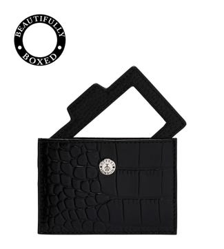 The Holly Leather Card Slip & Mirror in black | OSPREY LONDON