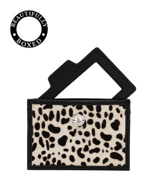 The Holly Leather Card Slip & Mirror in black and white dalmatian | OSPREY LONDON