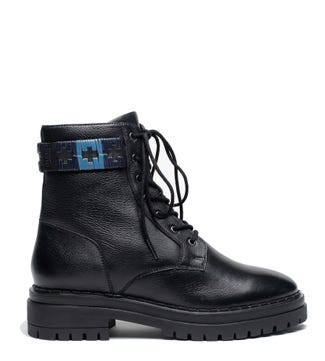 The Honeydew Belted Leather Ankle Boots in black   OSPREY LONDON