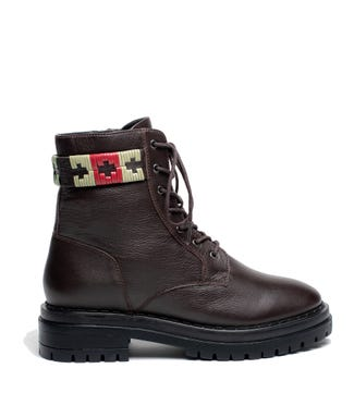 The Honeydew Belted Leather Ankle Boots in chocolate brown   OSPREY LONDON