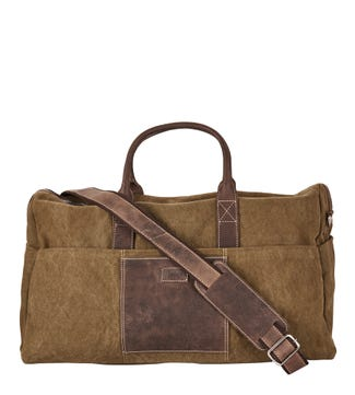 The Hunter Canvas & Leather Travel Bag in stone & chocolate | OSPREY LONDON