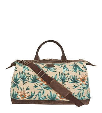 The Hunter Miami Canvas & Leather Weekender in beige | OSPREY LONDON