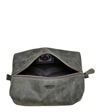 The Jasper Leather Washbag in grey | OSPREY LONDON