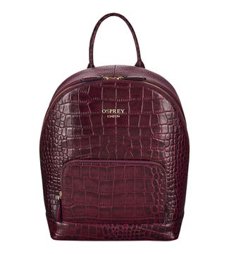 The Kellie Leather Backpack in damson | OSPREY LONDON