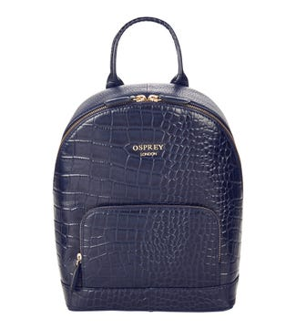 The Kellie Leather Backpack in navy | OSPREY LONDON