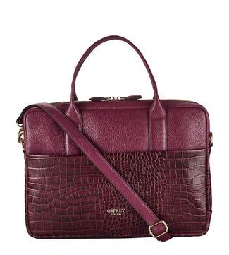The Kellie Leather Laptop Bag in damson | OSPREY LONDON