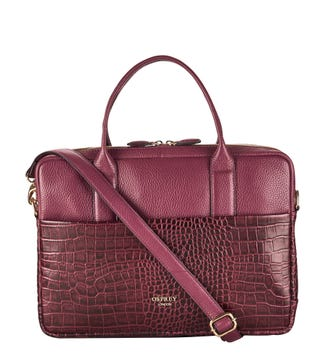 The Kellie Leather Laptop Bag in oxblood  OSPREY LONDON