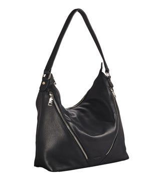 The Kelso Leather Hobo in black | OSPREY LONDON