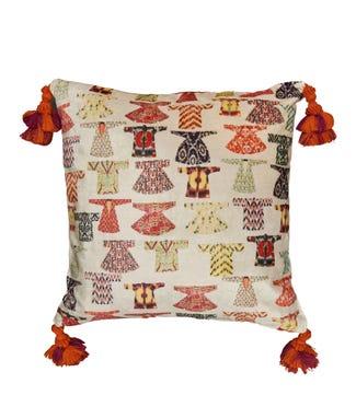 The Kimono Velvet Tasselled Cushion in multi   OSPREY LONDON