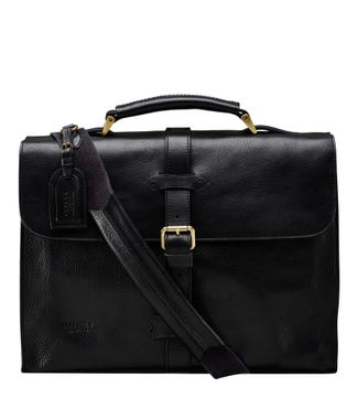 The Knighton Italian Leather Briefcase in black | OSPREY LONDON