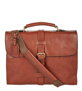 The Knighton Italian Leather Briefcase in tan | OSPREY LONDON