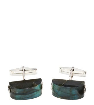Silver & Labradorite Cufflinks | OSPREY LONDON