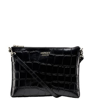 The Lara Leather Cross-Body/Clutch in black | OSPREY LONDON