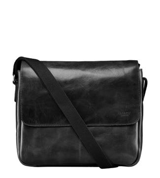 The Large Brooks Leather Messenger in black | OSPREY LONDON