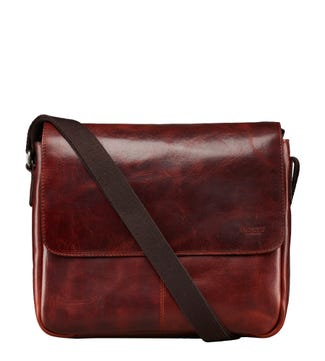The Large Brooks Leather Messenger in cognac | OSPREY LONDON