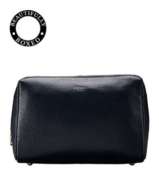 The Large Daria Leather Washbag in midnight blue