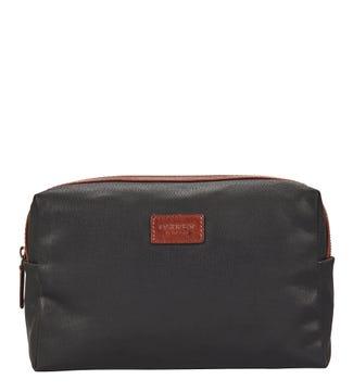 The Large Grantham Waxed Canvas & Saddle leather Washbag in dark grey & tan | OSPREY LONDON