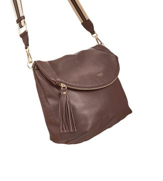 The Large Milano Italian Leather Convertible Cross-Body in chocolate brown | OSPREY LONDON