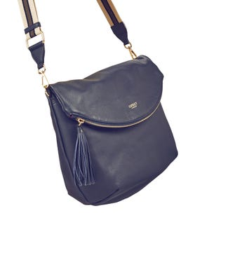 The Large Milano Italian Leather Convertible Cross-Body in navy blue | OSPREY LONDON