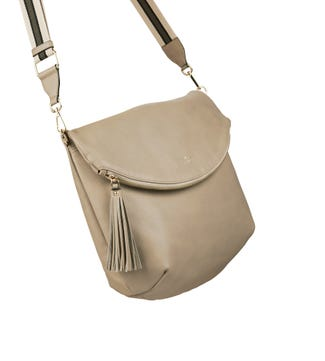 The Large Milano Italian Leather Convertible Cross-Body in taupe | OSPREY LONDON