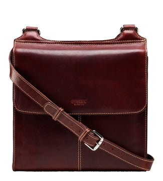 The Large Narissa Leather Cross-Body in cognac | OSPREY LONDON