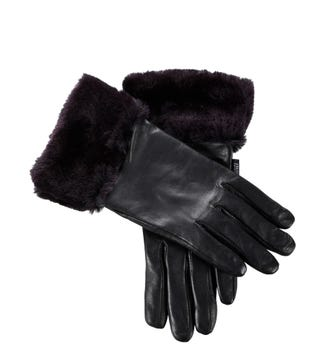 The Lisbeth Leather & Faux Fur Gloves in black | OSPREY LONDON
