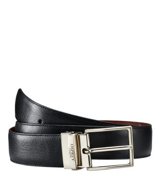 The Luca Italian Leather Reversible Belt in cognac & black | OSPREY LONDON