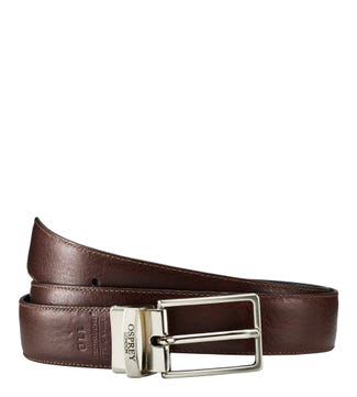 The Luca Italian Leather Reversible Belt in chocolate & black | OSPREY LONDON