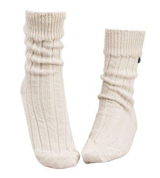 Luxury Alpaca Lounge Socks in cream   OSPREY LONDON