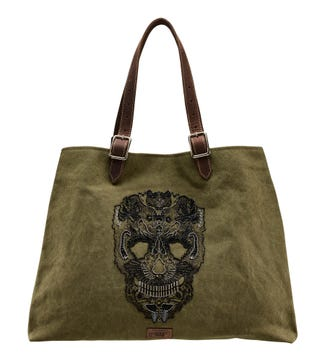 The Macbeth Canvas & Leather Tote in khaki | OSPREY LONDON