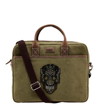 The Large Macbeth Canvas & Leather Laptop Bag in khaki | OSPREY LONDON