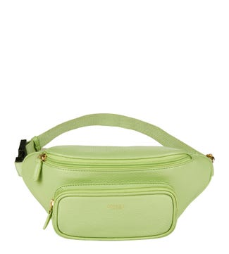 The Madison Leather Bumbag in basil green | OSPREY LONDON