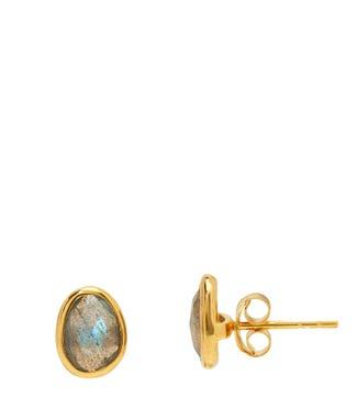 The Mara 18ct Gold Vermeil & Labradorite Stud Earrings | OSPREY LONDON