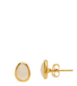 The Mara 18ct Gold Vermeil & Moonstone Stud Earrings | OSPREY LONDON