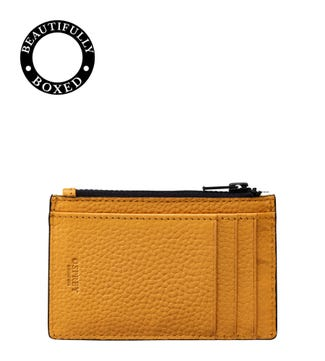 The Marine Leather Card Case in mustard yellow & black | OSPREY LONDON