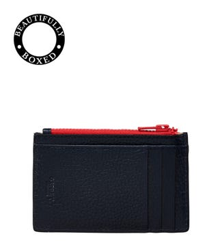 The Marine Leather Card Case in navy blue & red | OSPREY LONDON