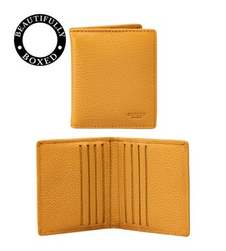 The Marine Leather Cardholder in mustard yellow & black | OSPREY LONDON