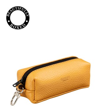The Marine Leather Key Pouch in mustard yellow & black | OSPREY LONDON