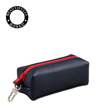The Marine Leather Key Pouch in navy blue & red | OSPREY LONDON