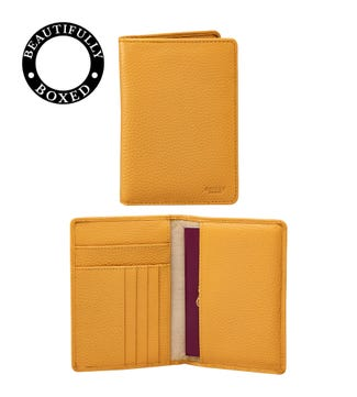 The Marine Leather Passport Cover in mustard yellow | OSPREY LONDON