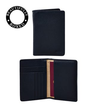 The Marine Leather Passport Cover in navy blue | OSPREY LONDON