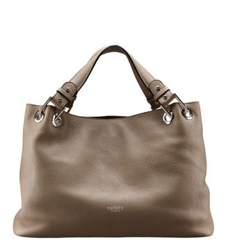 The Marla Italian Leather Grab in taupe | OSPREY LONDON