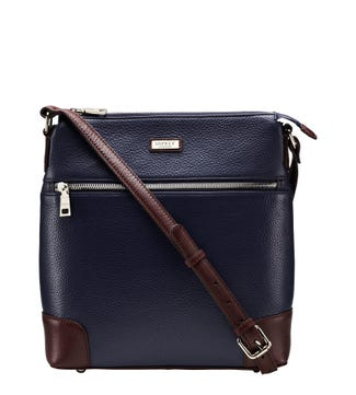 The Marlow Leather Cross-Body in navy blue | OSPREY LONDON