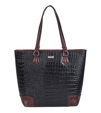The Marlow Leather Shoulder Tote in black | OSPREY LONDON