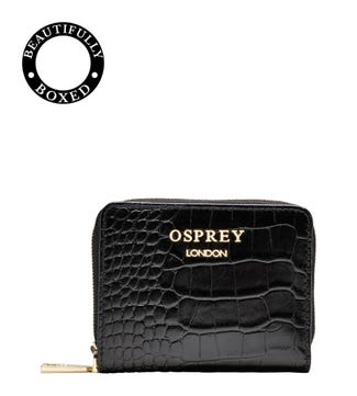 The Viola Leather Zip-Round Purse in Black | OSPREY LONDON