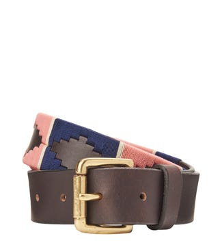 The Mendoza 3.5cm Leather Jeans Belt in navy & pink | OSPREY LONDON