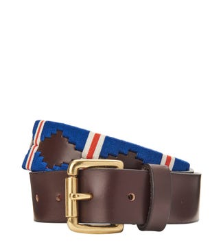 The Mendoza 3.5cm Leather Jeans Belt in blue & red | OSPREY LONDON
