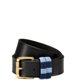 The Mendoza Checker Three and a Half Cm Leather Jeans Belt in black | OSPREY LONDON